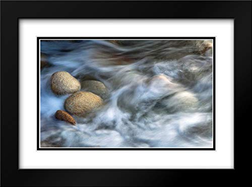 Stones and Waves 40x28 Black Modern Frame and Double Matted Art Print by Ortega, Xavier