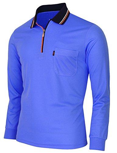 BCPOLO Zip Polo Shirt Athletic Long Sleeve Dri Fit Zip Polo-Blue-US-S (Asian - Asian Polo Us
