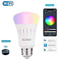 WiFi Smart Light Bulb E27 LED Bulb Free APP and Voice Control Compatible with Amazon Alexa and Google Assistant, A19 LED, 7 Watts, Dimmable, No Hub Required (Multi-Color)