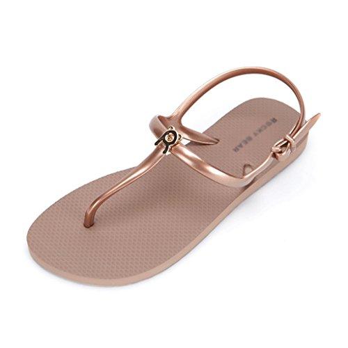 38 Brown Verano Zapatos Remaches Color Sandalias Vacaciones Tamaño Blue Mujeres Playa Planos wxqxPvZAC4
