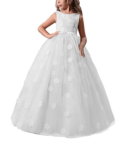 TTYAOVO Girls Pageant Princess Flower Dress Kids Prom Puffy Tulle Ball Gowns Size 8-9 Years White ()