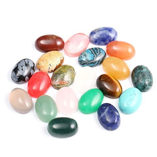 20 Pieces CAB Cabochon Beads Oval Random Color Beads Crystal Quartz Stone for Jewelry DIY Size 10x14 mm