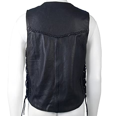 Black, X-Large Hot Leathers Heavy Weight Leather Vest with Braided Detail