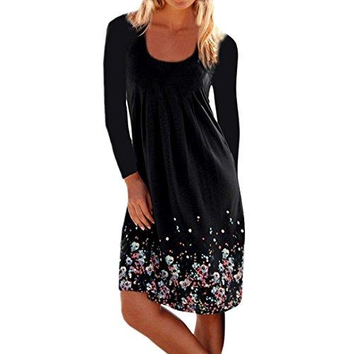 Girls Traditional Pleat Skirt - Women Dress, Limsea Floral Printed Long Sleeved Ruffled Pleat Knee-Length Loose Dress