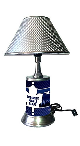 (Rico Table Lamp with Chrome Colored Shade, Toronto Maple Leafs Plate Rolled in on The lamp Base)