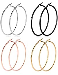 Hoop Earrings, 18K Gold Plated Rose Gold Plated Stainless Steel Rounded Hoops Earrings for Women Girls