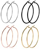 Kyпить Hoop Earrings, 18K Gold Plated Rose Gold Plated Stainless Steel Rounded Hoops Earrings for Mother's Day Gift (4 Colors in 2.2