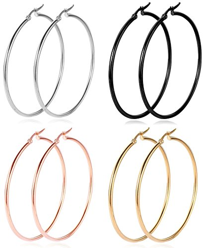 Steel Hoops (Steel Hoop Earrings for Women, 18K Gold Plated Stainless Steel Hoop Earrings for Women Girls' Sensitive Ears (4 Colors, 55mm))
