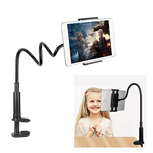 FUTESJ Gooseneck Tablet Holder, Adjustable Phone Ipad Holder Stand with Flexible Lazy Arm Clip Tablet Stand Bed Desk Mount Compatible with iPhone New iPad Pro 4-10.6 Inches Device