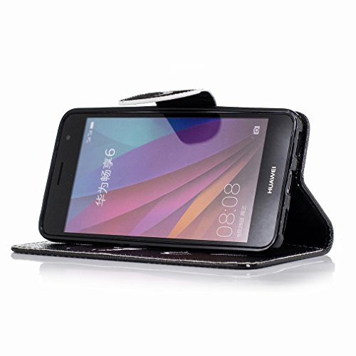Custodia Huawei Enjoy 6 Cover Case, Ougger Cool Style Portafoglio PU Pelle Magnetico Stand Morbido Silicone Flip Bumper Protettivo Gomma Shell Borsa Custodie con Slot per Schede