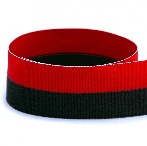 "USA Made 1-3/8"" Red & Black Bi Striped Grosgrain Ribbon (Red & Black Ribbon) - 20 Yards (Multiple Yardages Available) (Grosgrain Red Fabric Ribbon)"