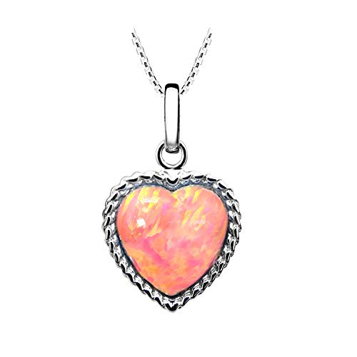 "Paul Wright Created Pink Opal Pendant Necklace, Heart Shaped with Coral Pink Color, 925 Sterling Silver, 16"" with 2"" Extender"