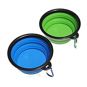 SABUY Collapsible Dog Cat Travel Bowl, Pet Pop-up Food Water Feeder Foldable Bowls with Carabiner Clip, Blue/Green, Set of 2