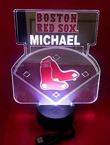 Boston Red Sox MLB Baseball Mirror Stadium Light Up Lamp LED Remote Personalized Table Lamp, Our Newest Feature - It's WOW, With Remote 16 Color Options, Dimmer, Free Engraved Great Gift ()