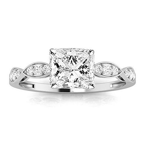 0.45 Cttw 14K White Gold Princess Cut Petite Curving Diamond Engagement Ring with a 0.3 Carat F-G Color VS1-VS2 Clarity Center Image