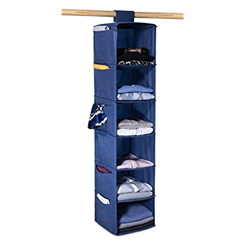Hanging Sweater Organizer, 6 Shelves   Easily Organize And Maintain Your  Sweaters Shape. Additional Six Side Pockets For Clothing Accessories.