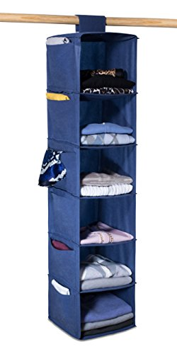 - Hanging Sweater Organizer, 6 Shelves - Easily Organize and Maintain Your Sweaters Shape. Additional Six Side Pockets for Clothing Accessories. Attaches to Closet Rod with Heavy Duty Fastener. (Blue)