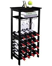 URFORESTIC Bamboo Wine Rack Free Standing Wine Holder Display Shelves with Glass Holder Rack, 16 Bottles Stackable Capacity for Home Kitchen