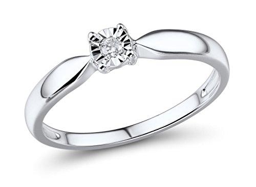 Diamond Ring 1/10th Carat in 10k White Gold