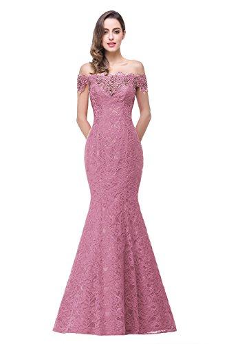 Women Off Shoulder Lace Long Mermaid Wedding Guest Party Dress US12 Dark Pink