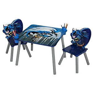 Amazon Com Batman Wooden Kids 3 Piece Table And Chair