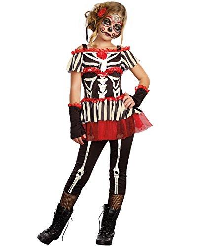 Catrina Makeup And Costume (Senorita Bone-ita Child Costume - Small)