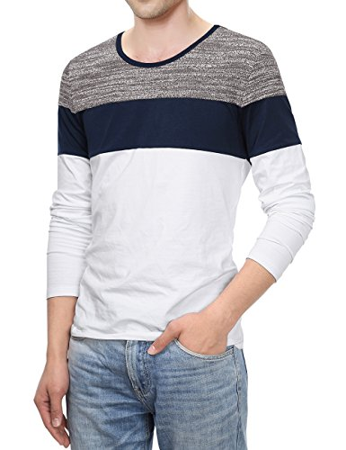White Contrast Neck T-shirt - KAIUSI Long Sleeve Casual T-Shirt, Men's Contrast Color Crew Neck Top Small White