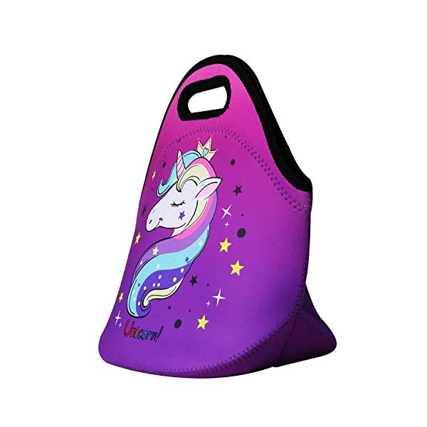 Cute Unicorn Lunch Bag for Kids, Waterproof Insulated Neoprene Lunch Tote with Zipper for School Work Outdoor (Purple002… 3