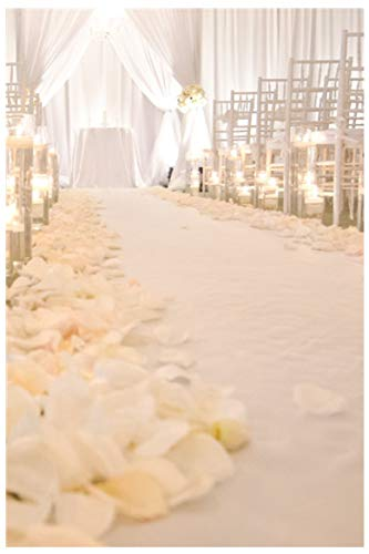 ShinyBeauty Aisle Runner-4FTX15FT-White,Aisle Runner Outdoor Wedding,Aisle Runner for Wedding,Sequin Aisle Runner,Aisle Runner Fabric (White) -