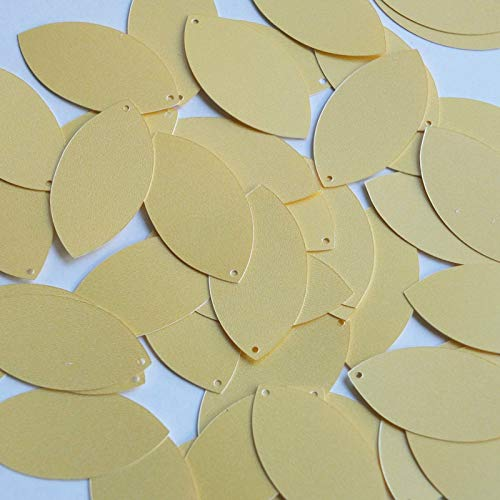 Craft Sequins Selection - Navette Leaf Sequin 1 5'' Custard Yellow Opaque Satin Pearl Couture Paillettesfor Sewing, Sequin Slime, Wedding ()