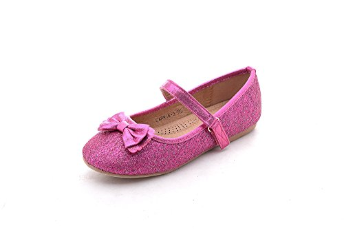 Mila Girls Little Kids Toddler Cute Comfortable Dress Flat Shoes (Carrie-3) Fuchsia10