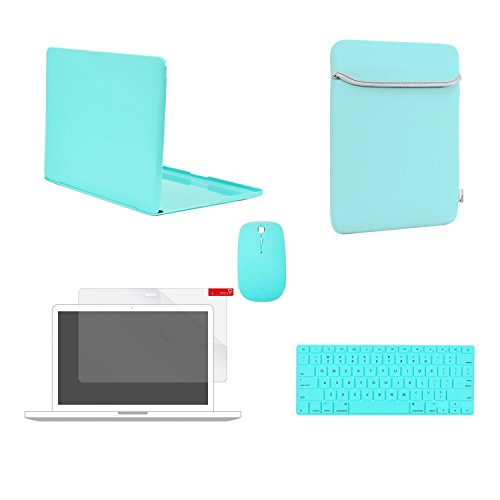 - TOP CASE 5 in 1 - Crystal Hard Case + Sleeve Bag + Wireless Mouse + Keyboard Cover + Screen Protector Compatible with MacBook Pro 13