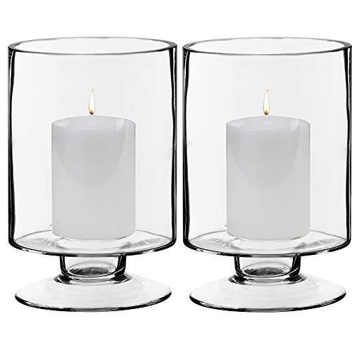 CYS EXCEL Glass Candle Holders, Hurricanes Candle Holders, Stemmed Candle Holders. Candle Holders Pack of 2 (Holder Large Candle)