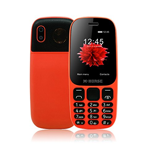 M-HORSE B2000 Senior Mobile Phone Unlocked 2000mAh 2.4 Inch Display Dual SIM Big Button Big Flashlight Big Volume FM Bluetooth - Orange (Mobile Senior)