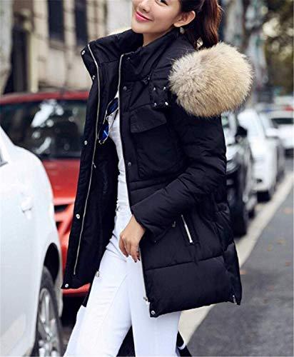 Giacca Cappuccio Qualità Slim Marca Mode Con Tasche Di Manica Cerniera Solidi Fit Outwear Alta Piumino Calda Bavero Laterali Outerwear Invernali Colori Schwarz Donna Lunga qCXPwTwt