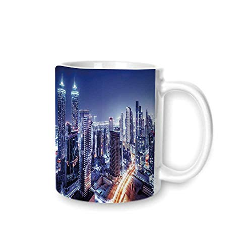 City Practical Mark Cup,Dubai Downtown UAE Night Scenery Modern High Rise Buildings Travel Destination For Hold Water,Z(diameter)8.2G9.5