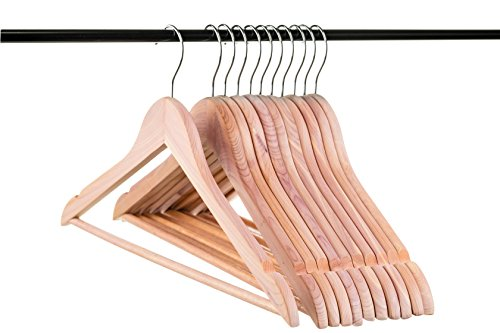 Neaties American Cedar Wood Hangers with Notches and Bar for Fresh Closet, 12pk
