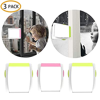 3 Pack Sliding Glass Door Locks for Child Safety, Professional Sliding Window Locks, Baby Proof Closets,with Strong Adhesive Tape, No Screws or Drills, Easy Clean