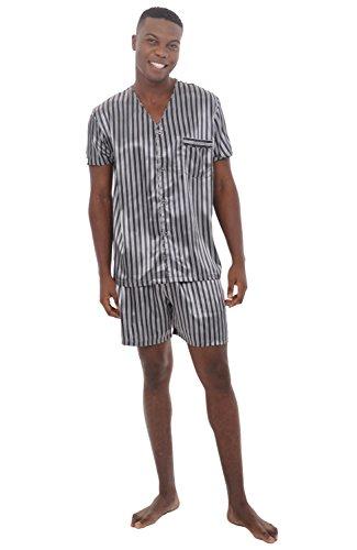 Alexander Del Rossa Mens Satin Pajamas, Short V-Neck Pj Set, Large Black and Grey Striped (A0613R04LG)