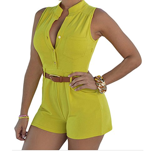christmas-peggynco-womens-yellow-button-front-belted-romper-size-xl
