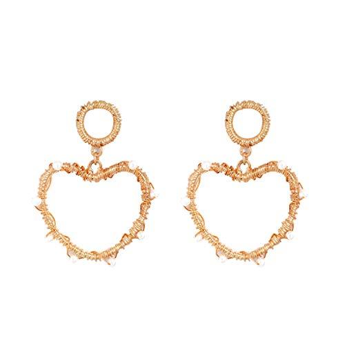 (Jocund Women Fashion Elegant Bohemian Metal Pearl Love Geometry Star Earrings Women's Jewelry)