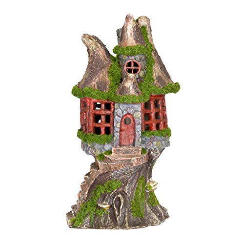 Exhart Woodland Tree House Solar Garden Statue - Resin Fairy Cottage w/Stone Steps, Red Door & Wall Windows, and Solar Accent Lights - Mini Fairy House Best as Garden Home Decor 7