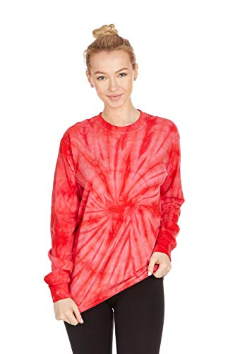 DARESAY Tie Dye Style Long Sleeve T-Shirt, Spider Red, Large