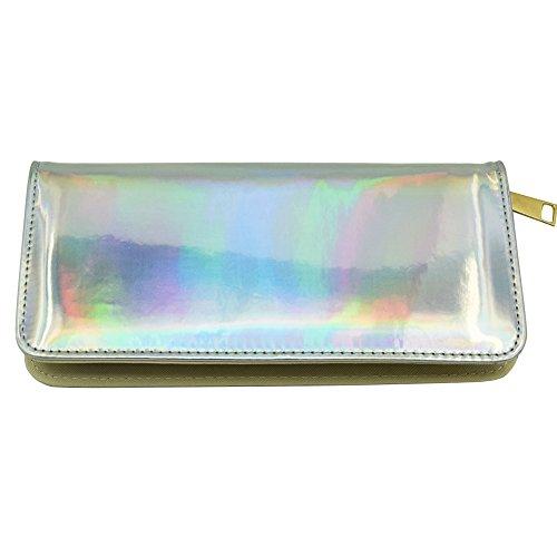Long Clutch Hologram Card Magibag Wallet Women Silver Holder Around Purse Zip 5RqxZ4Hnzx
