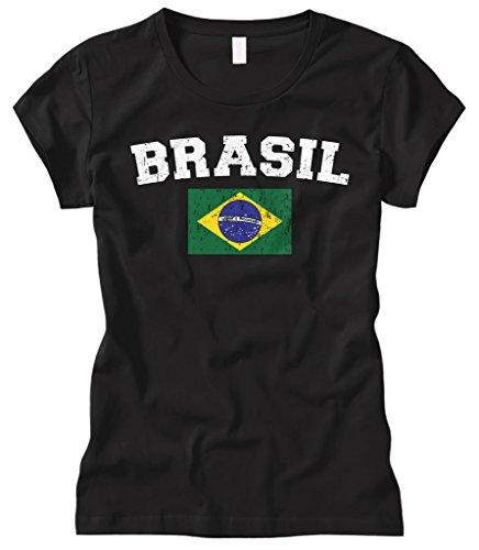 Cybertela Women's Faded Distressed Brasil Brazil Flag Fitted T-Shirt (Black, Small)