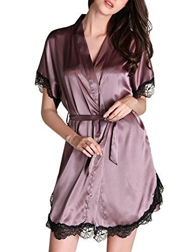 ACHICGIRL Women's Glamour Imitated Silk Nightgown and Robe Set, Dusty Purple (Glamour Nightgown)