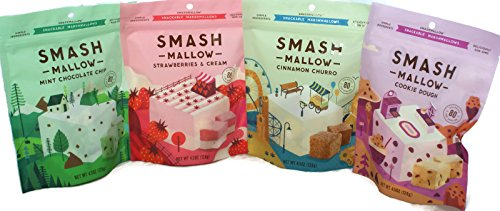 General Variety Pack - Smash Mallow Snack Marshmallows (4.5 oz) - Cinnamon Churro, Strawberries & Cream, Mint Chocolate Chip, Cookie Dough, Assorted