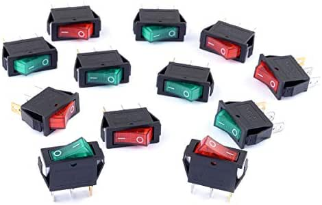 Cylewet 12Pcs AC 15A/250V 20A/125V Boat Rocker Switch 3 Pins 2 Positions ON/Off with Red/Green Indicator Light (Pack of 12) CYT1109