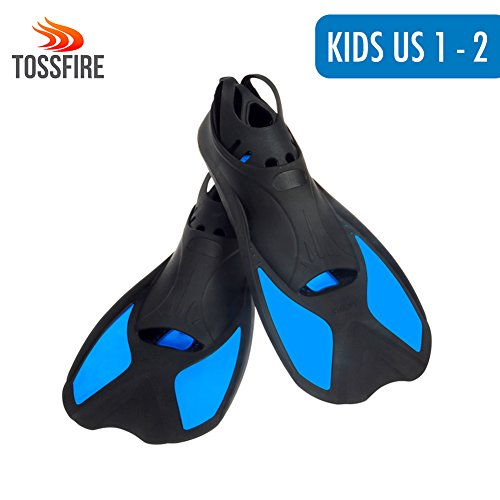 Lightweight Diving Fins Short Floating Training Swimming Fins for Children Boy and Girls US size Kids 1-2 with Thermoplastic Rubber Pool Flippers for Swimming Diving Snorkeling Watersports – - Flipper 1
