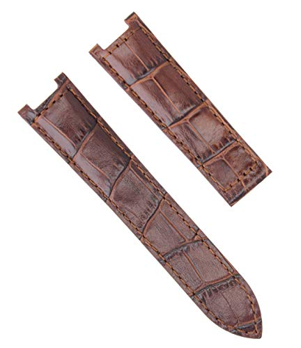 Cartier Brown Strap - Leather Band Strap Deployment Clasp for Pasha DE Cartier 205 1033 20MM Brown #2P